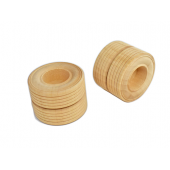 "2"" Dual Wooden Treaded Wheels w/ 3/8"" hole (25 pcs)"