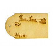 3-1/2'' Christmas / Holiday Domed Gift Tags  w/ Santa's Sleigh engraving (Lot of 10)