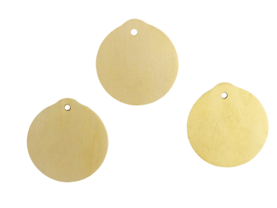 Wood Ornament Circle Cut Out w/ Hole (Lot of 10)